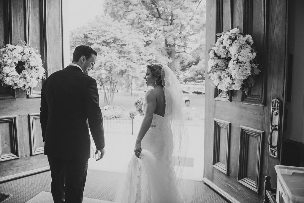 Bride and groom exit First Presbyterian Church after their wedding ceremony captured by Smitten and Hooked