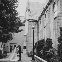 Smitten and Hooked capture a bride and groom embracing after their wedding ceremony at First Presbyterian Church