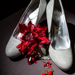Soma Photography captures a stunning detail shot of bridal shoes for a fall wedding at The Mint Museum Randolph