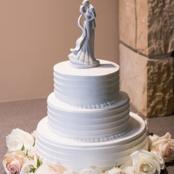 Simple three tiered white cake was the perfect sweet treat for a fall wedding at the Mint Museum Randolph