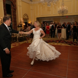 Strauus Studios captures a romantic first dance between a bride and groom during their reception at Charlotte City Club