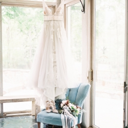 Stunning gown by Watters makes a lovely centerpiece for a detail shot by Sunshower Photography