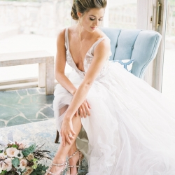 Bride wears stunning shoes by Valentino for a wedding styled shoot at Tipsy Goat Estate designed by Magnificent Moments Weddings