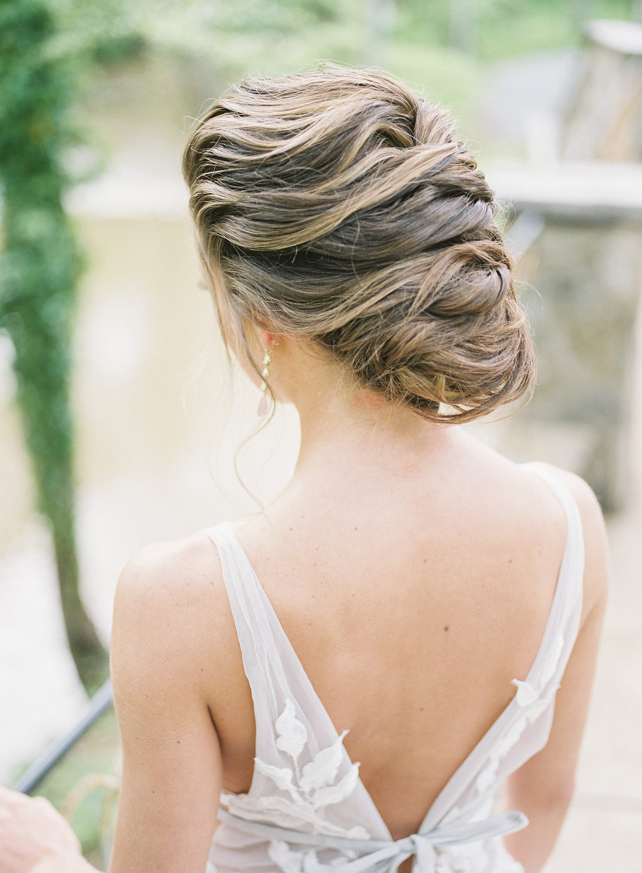 Stunning updo created by Jenny Le for a styled shoot at Tipsy Goat Estate