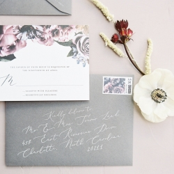 Gray detailed invitation suite created by Viri Lovely design for a styled shoot at Tipsy Goat Estate captured by Sunshower Photography