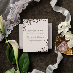 Ocean and Coral Calligraphy created stunning invitation suite for a fall wedding at Triple C Barrel Room
