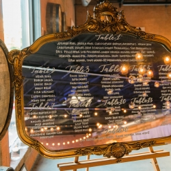 Antique mirror serves as a seating chart for a fall wedding at Triple C Barrel Room