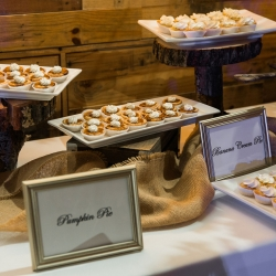 Mini pies by Honey Butter Bakery made the perfect desserts for a fall wedding at Triple C Barrel Room