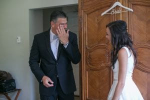 Bride shares a first look with her father before her summer wedding at the Duke Mansion captured by Dianne Personett Photography