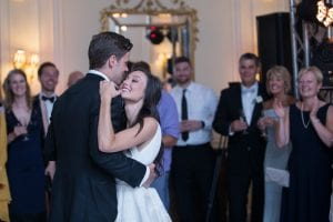 Bride and groom dance during their wedding reception at the Duke Mansion coordinated by Magnificent Moments Weddings
