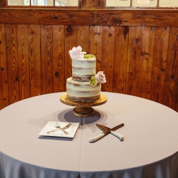 Naked two tier cake with simple flower topper sit a top pale blue linens for a wedding reception at The Diary Barn in Fort Mill South Carolina