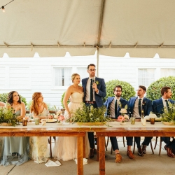 Groom address his bridal guests during their outdoor reception at The Dairy Barn captured by Alivia Photography