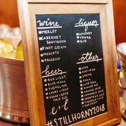 Bar menu sign for a reception at The Diary Barn coordinated by Magnificent Moments Weddings