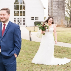 Jenny Williams Photography captures a bride sneaking up on her groom to reveal her first look