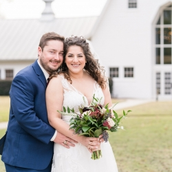 Bride and groom are all smiles for Jenny Williams Photography as they prepare to walk down the aisle at their Dairy Barn Wedding