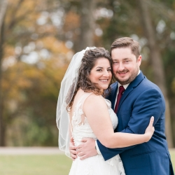 Jenny Williams Photography captures a bride and groom before their fall wedding at The Diary Barn