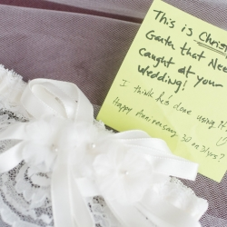 Wedding garter with a special note add to the sweet touches of a fall wedding at The Diary Barn