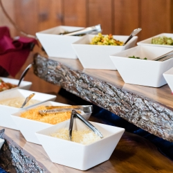 Family Catering creates an amazing buffet for a wedding at The Diary Barn in Fort Mill, SC