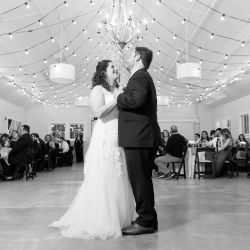 A romantic first dance is captured by Jenny Williams Photography during a wedding reception at The Dairy Barn
