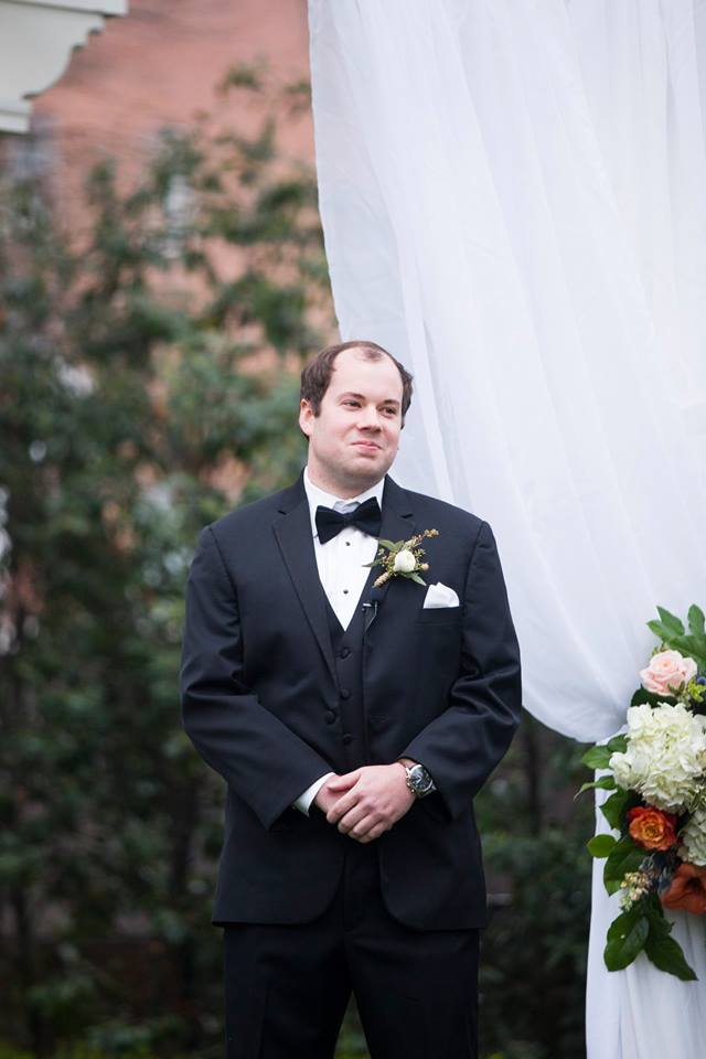 Groom watching his bride walk down the aisle at their Separk Mansion wedding captured by Soussou Productions