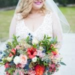 stunning pink and blue bridal bouquet designed by What's Up Buttercup