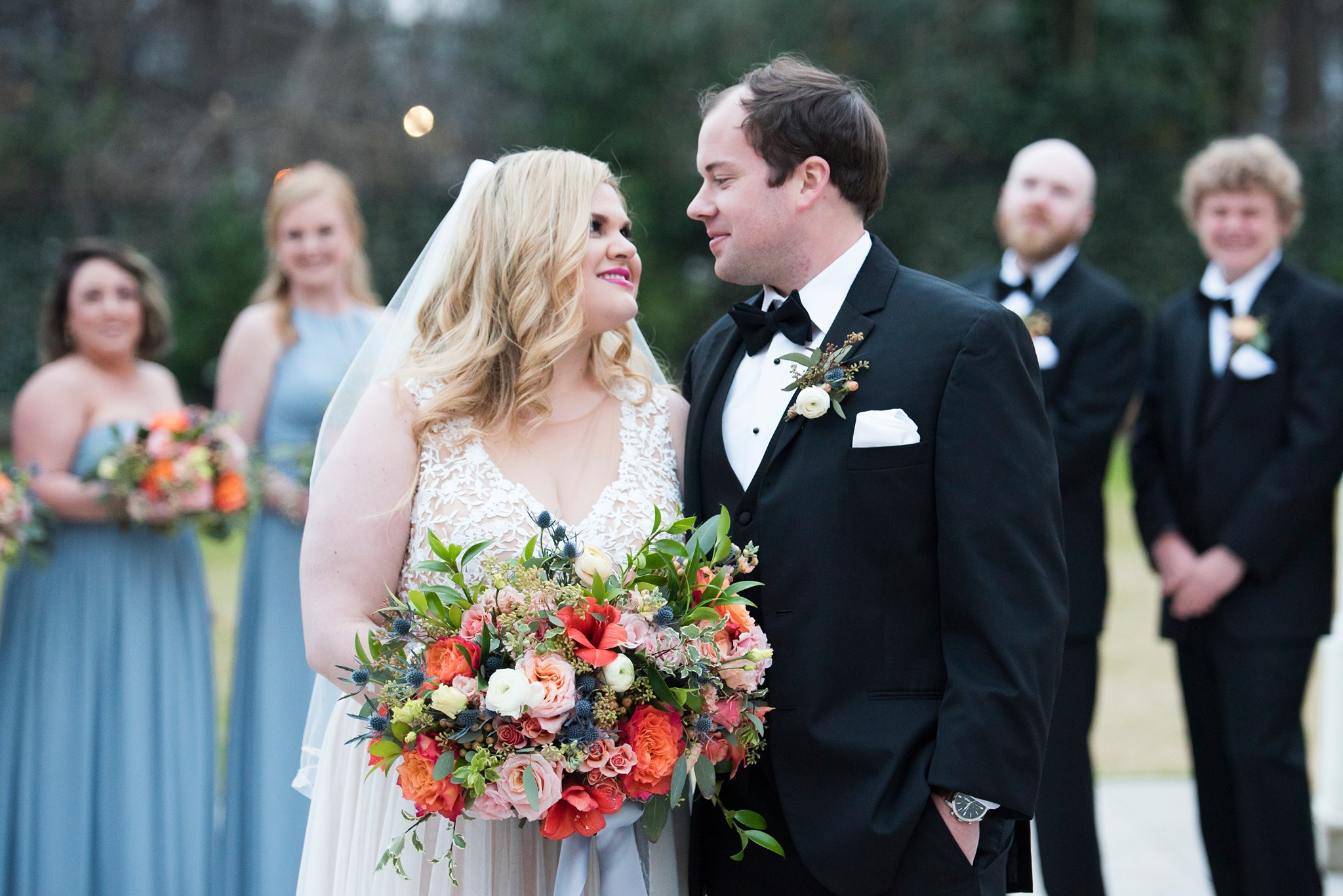 Bride and groom embrace after wedding ceremony at Separk Mansion captured by Soussou Productions