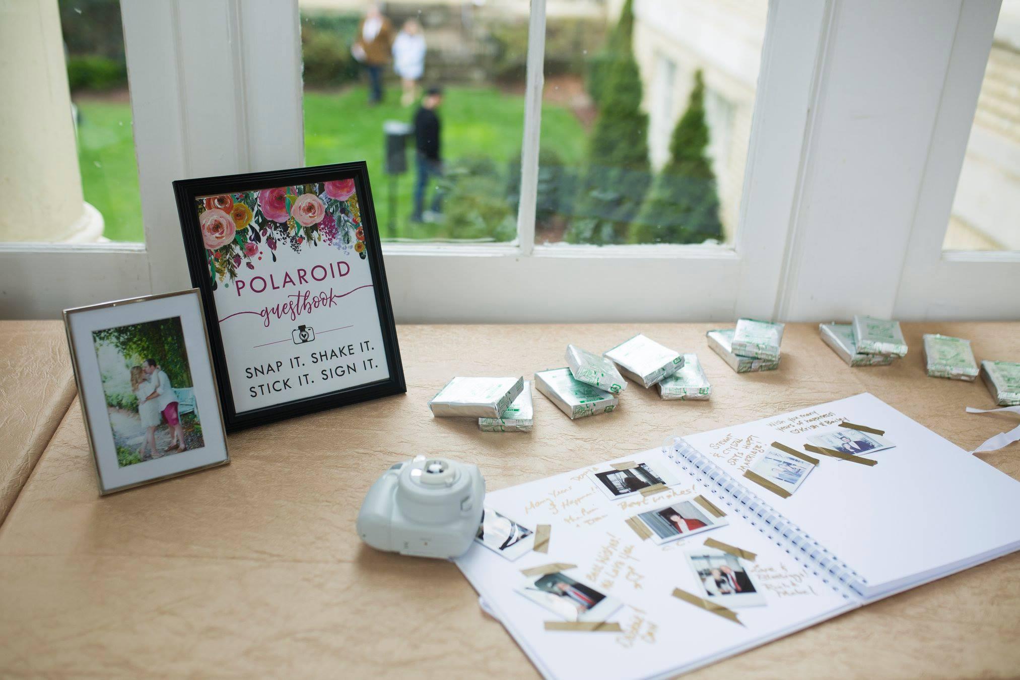 Detail shot of wedding polaroid guestbook at Separk Mansion wedding