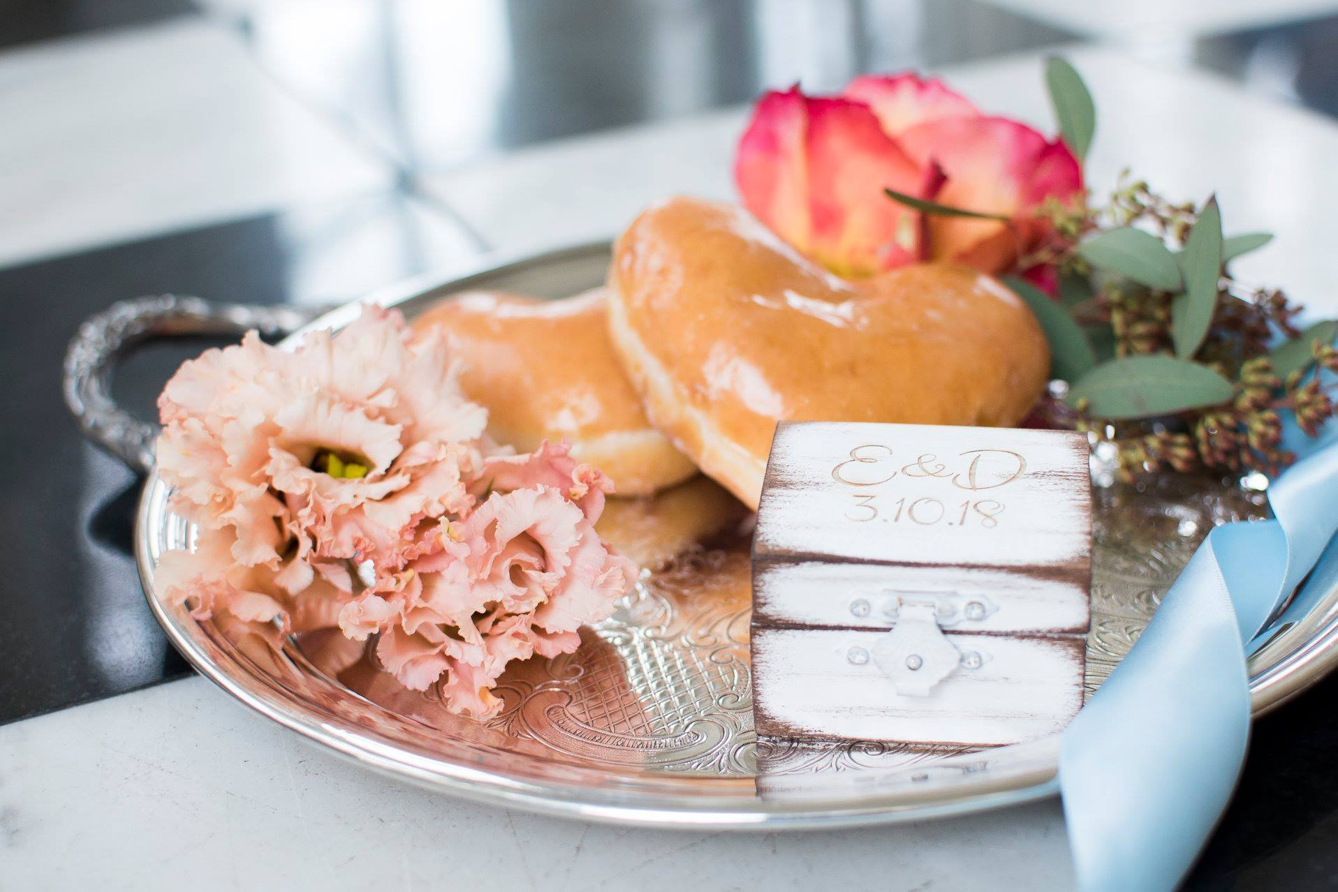 Krispy Kreme doughnuts serve as special treat for a wedding a the Separk Mansion coordinated by Magnificent Moments Weddings and coordinated by Magnificent Moments Weddings