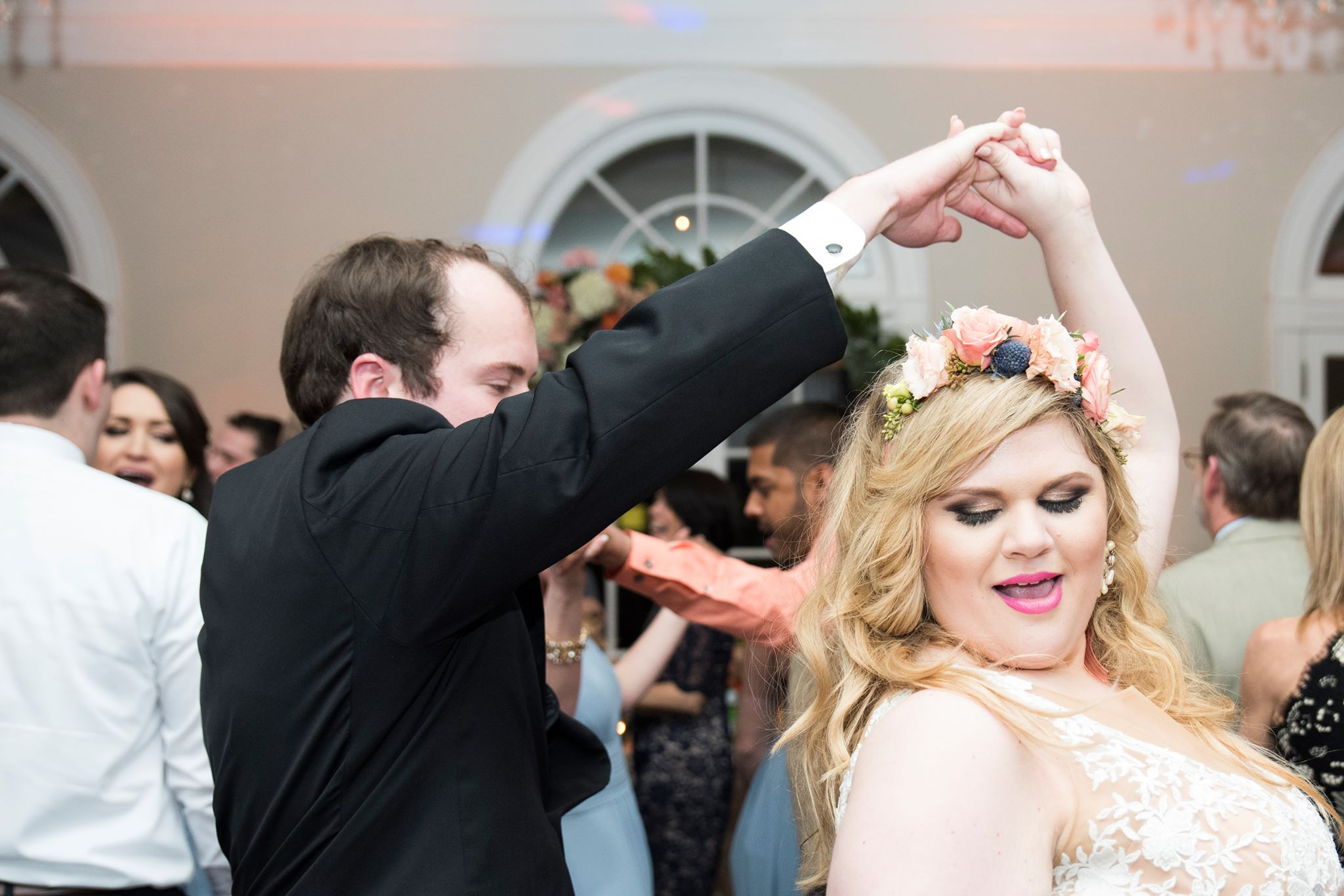Bride and groom dancing at Separk Mansion wedding reception with music provided by Split Second Sound