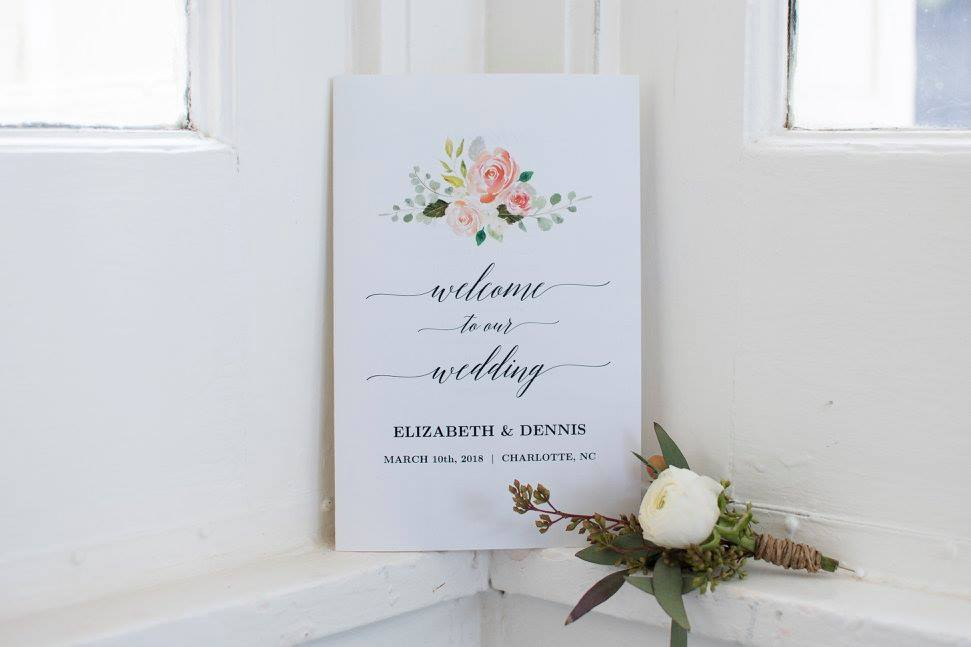 Welcome to our wedding sign for wedding at Separk Mansion coordinated by Magnificent Moments Weddings