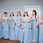 Bridal party wearing stunning blue dress at Separk Mansion Wedding coordinated by Magnificent Moments Photography
