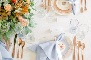 Blue and Peach Wedding Inspiration at the Dairy Barn in Fort Mill South Carolina
