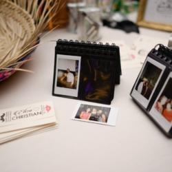 Polaroid camera photos at a wedding