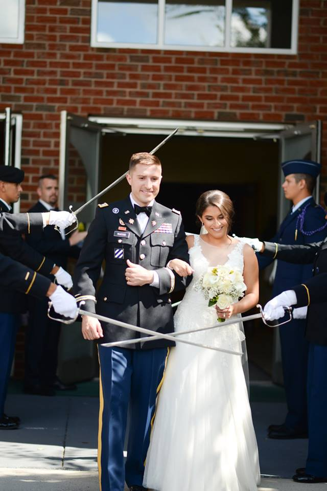 bride and groom army military salute exit
