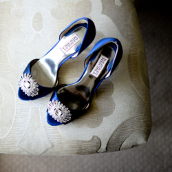 Beautiful blue Manolo Blahnik wedding shoes at the Ballantyne Hotel