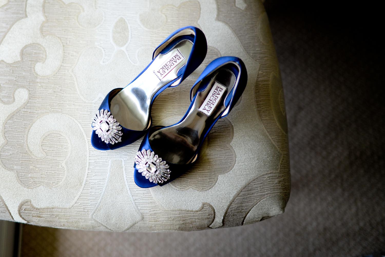 Beautiful blue Manolo Blahnik wedding shoes at the Ballantyne Hotel