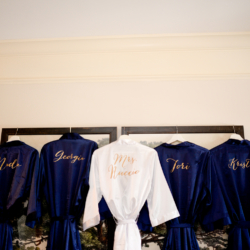 embroidered navy bridesmaid getting ready robes