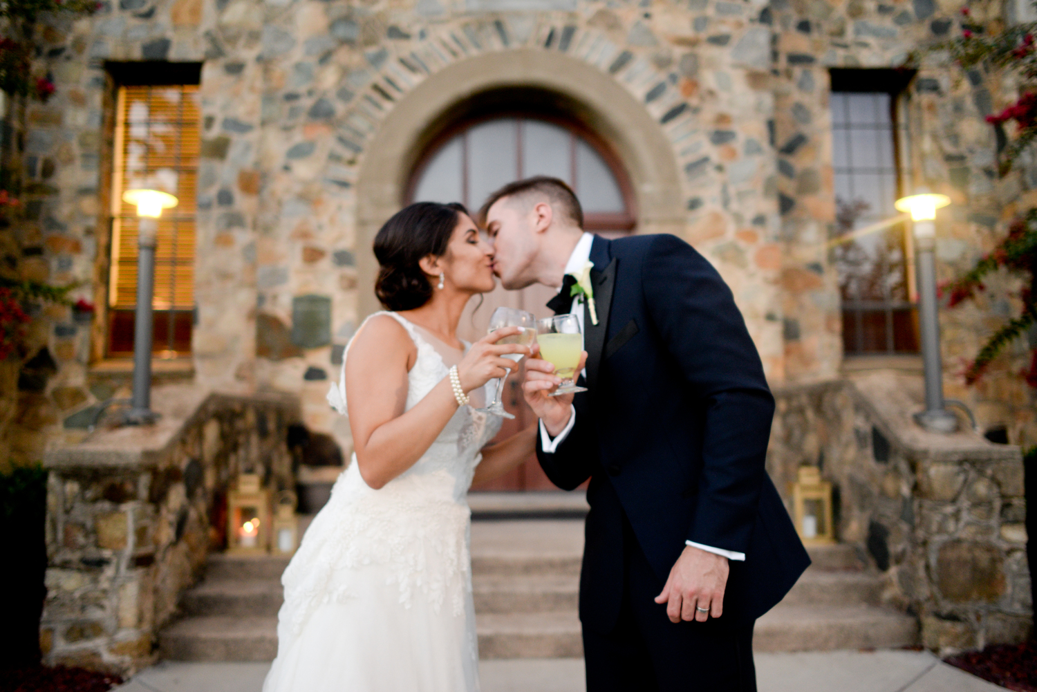 Bride and groom toasting at the Palmer Building