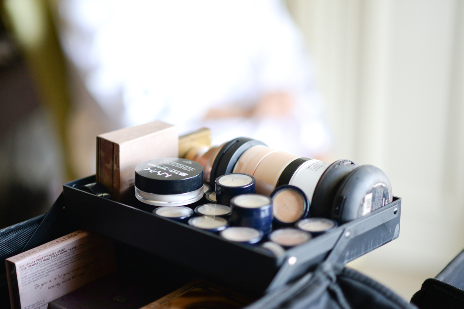 makeup on a counter