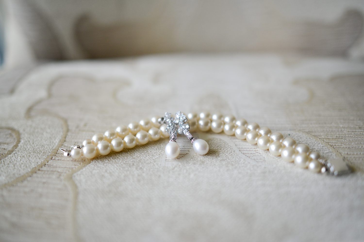 bridal bracelet and earrings at the Ballantyne Hotel in Charlotte North Carolina