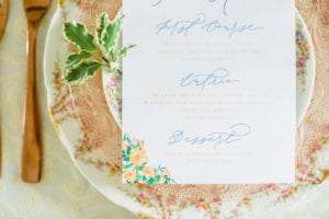 Blue and Peach Wedding Table Setting with Menu