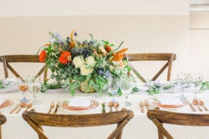 Blue and Peach Wedding Centerpiece