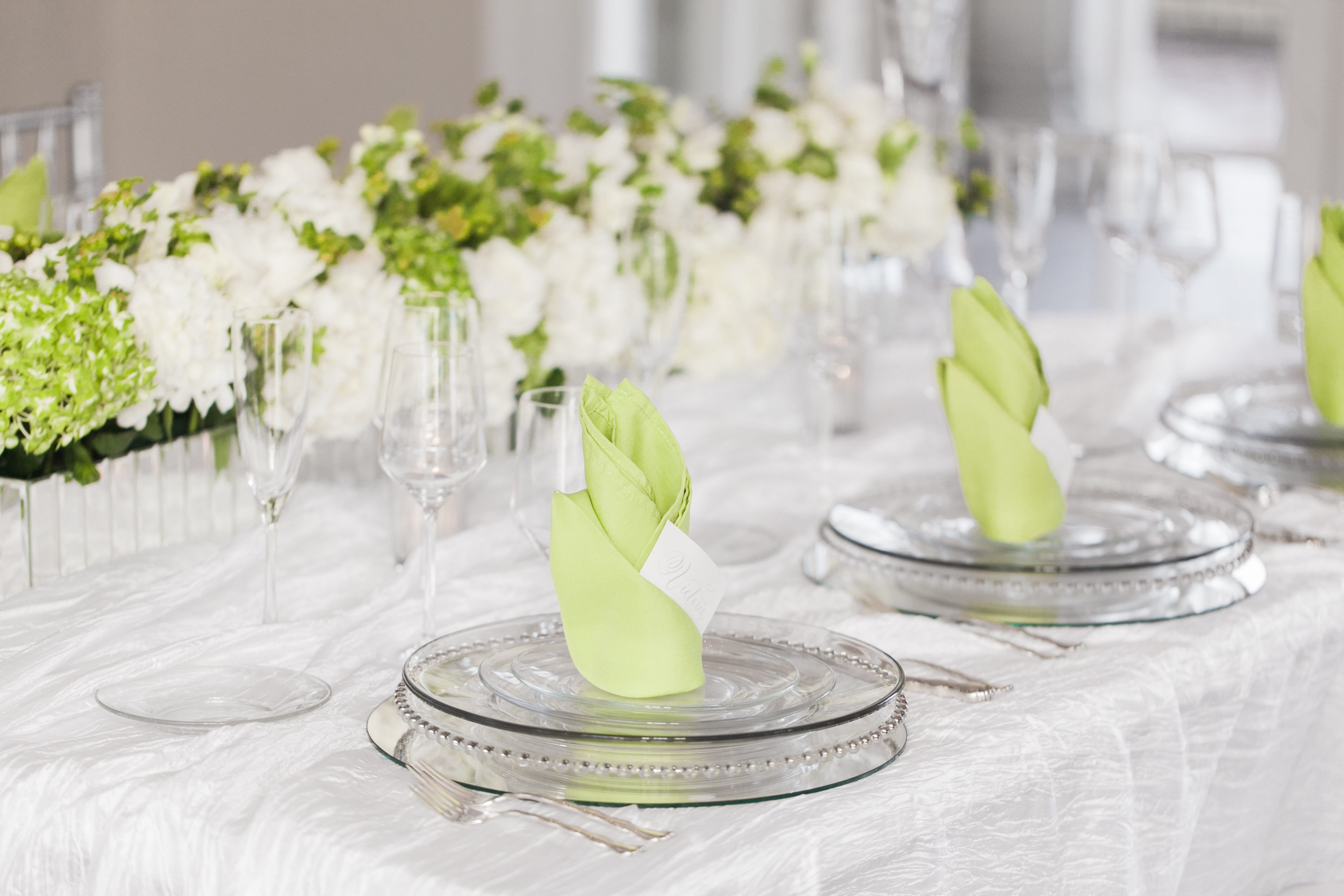 Stunning table setting with glass chargers and accents of green for a wedding reception at the Separk Mansion
