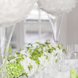 Table setting of white and silver wedding at the Separk Mansion designed by Magnificent Moments Weddings