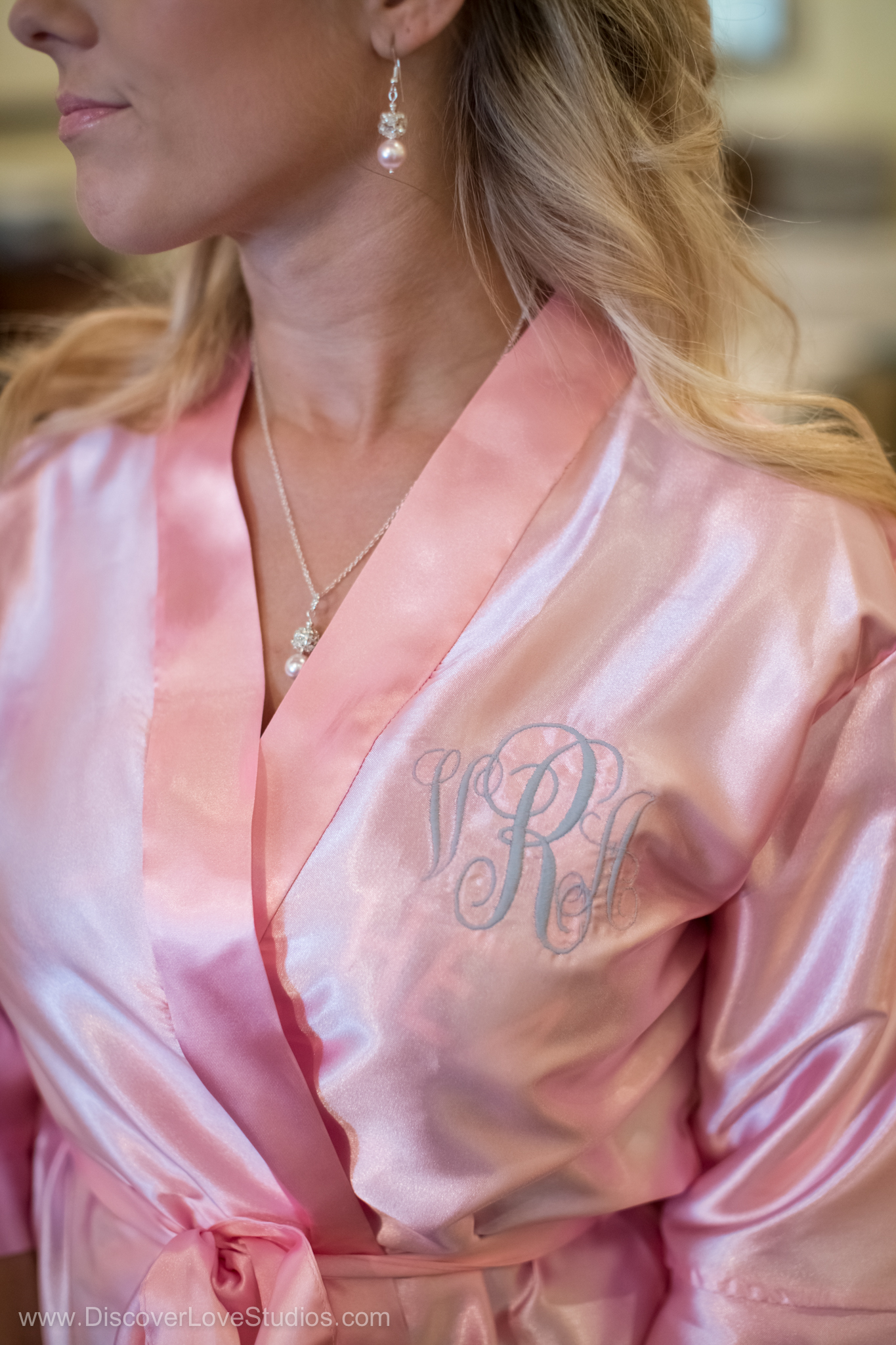 Blush pink bridal getting ready robes with monograms.