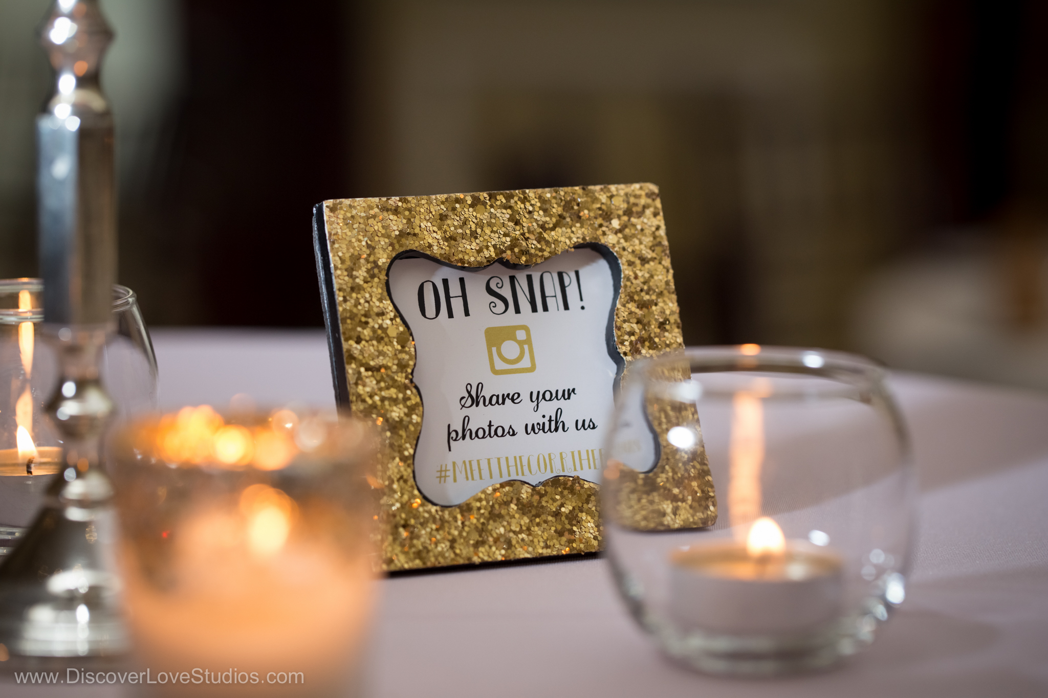 Wedding hashtag signs.