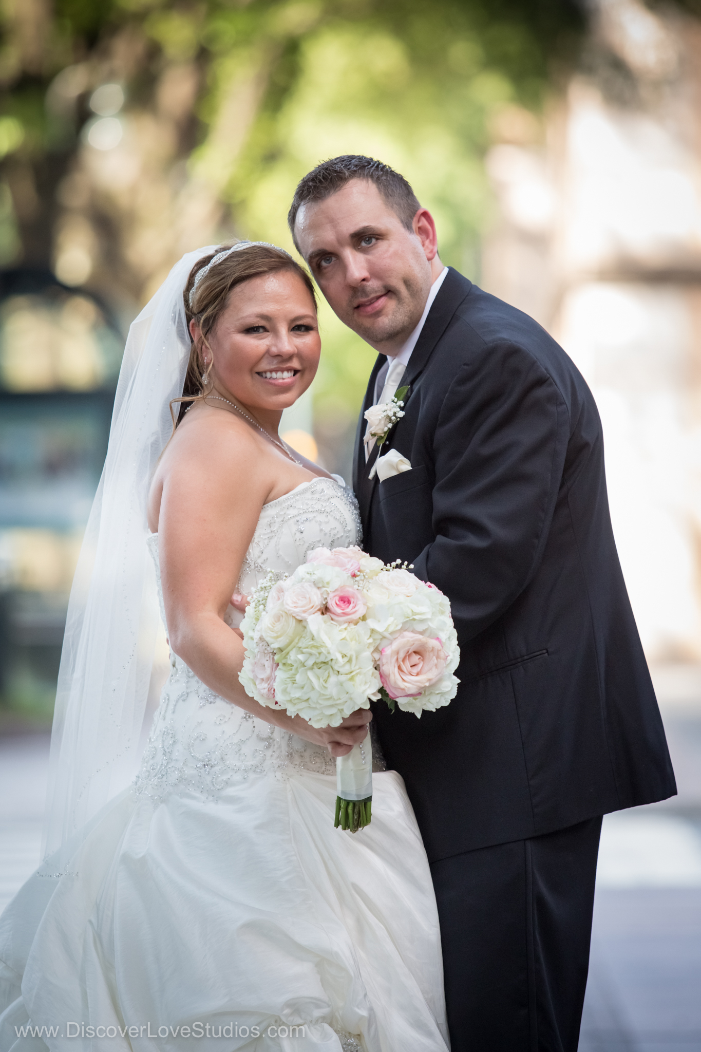 bride and groom wedding portrait in Uptown Charlotte.