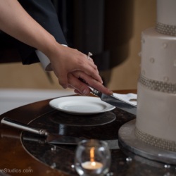 Bride and groom cutting into their wedding cake together.