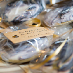 """Thanks for making the day so sweet"" cookie wedding favors"