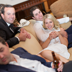 Bride and Groom enjoying the after party at the Ballantyne Lodge